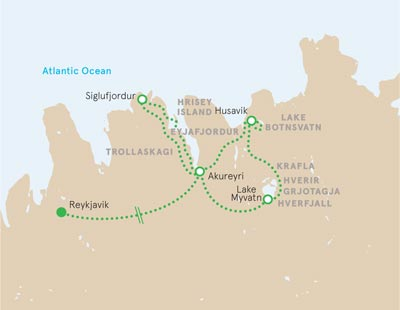 Northern Iceland walking tour map