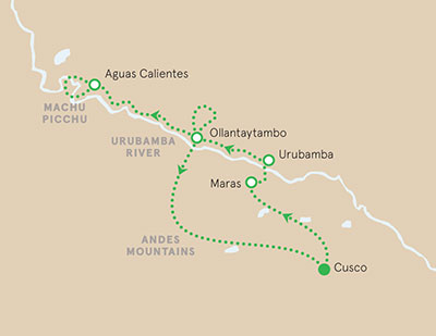 Peru walking and hiking tour map