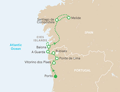 Camino de Santiago walking tour map