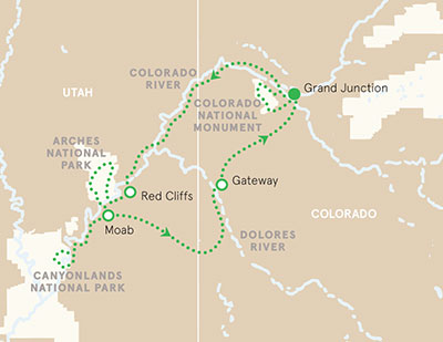 Utah and Colorado walking tour map