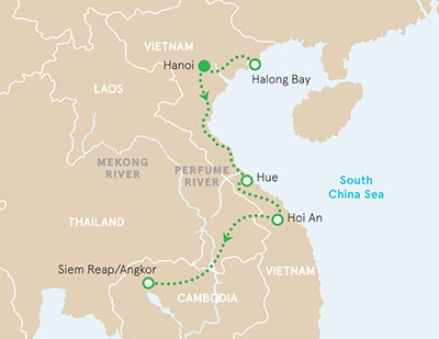 Vietnam and Cambodia walking and hiking tour map