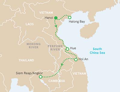 Vietnam & Cambodia walking & hiking tour map