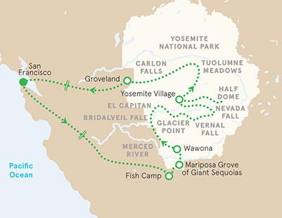 Yosemite California walking tour map