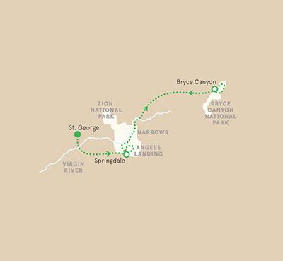Zion Bryce Utah Map