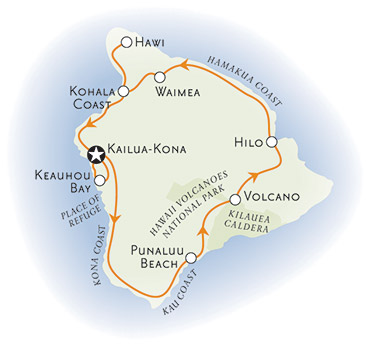 Big Island of Hawaii bike tour map