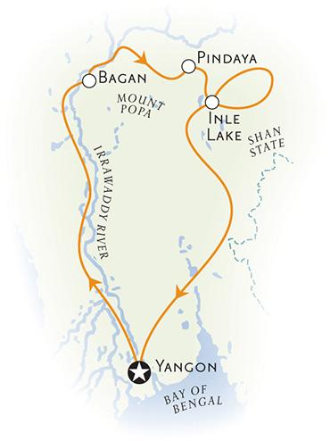 Myanmar Bike Tour Map