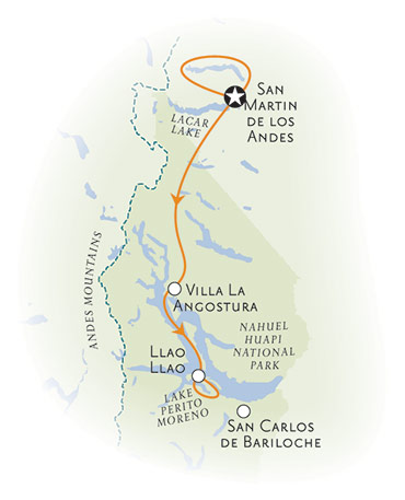 Argentina Lake District Multisport Adventure Tour Map