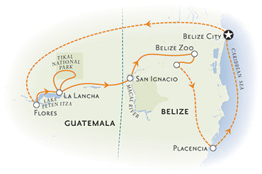 Belize and Gutamala Map