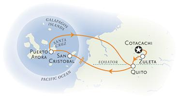 Ecuador and Galapagos family trip map