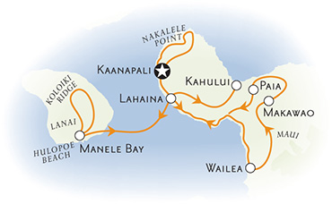 Maui and Lanai multisport adventure tour map