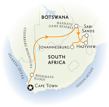 South Africa & Botswana Africa Map