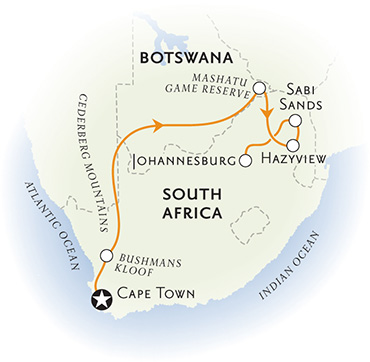 South Africa and Botswana Africa Map