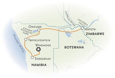 Namibia and Zimbabwe map