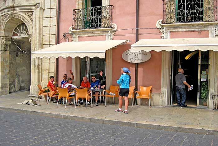 Cafe with dog - Backroads Tuscan Coast Bike Tour