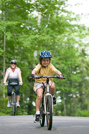 Family biking on Backroads Maine Family Multi-Adventure Tour
