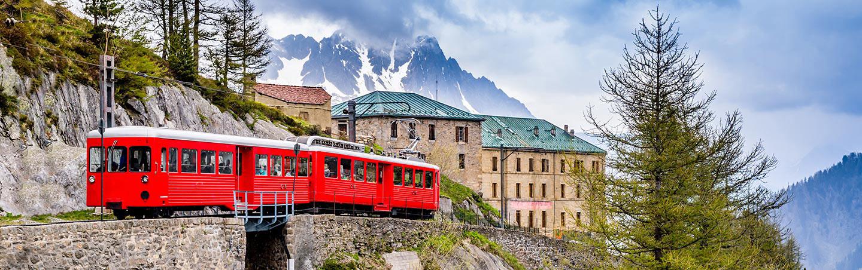 Train going to Montenvers -  Italian, French & Swiss Alps Hut-to-Hut Hiking Tour