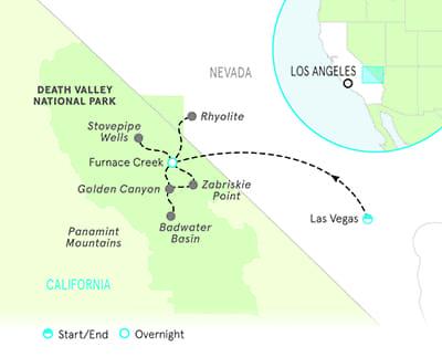 Death Valley Biking Tour Map
