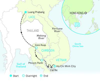 Vietnam, Cambodia and Laos River Cruise Bike Tour Map