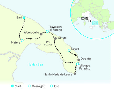 Puglia Italy Biking Tour Map