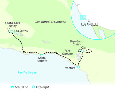 Santa Barbara and Ojai map