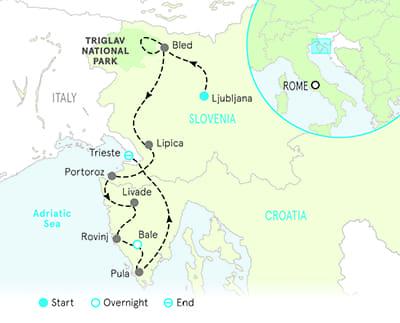 Slovenia and Croatia Bike Tour Map