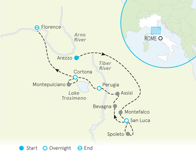 Tuscany and Umbria bike tour map