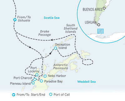Antarctica Ocean Cruise map