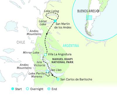 Argentina Lake District Multisport Adventure Tour Map