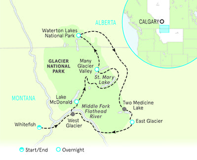 Glacier & Waterton Lakes Map