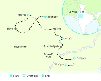 India Multi-Adventure Tour Map