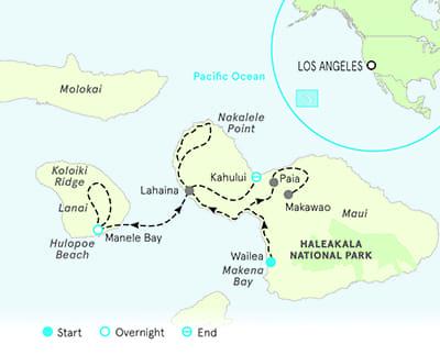 Maui and Lanai multisport adventure tour map
