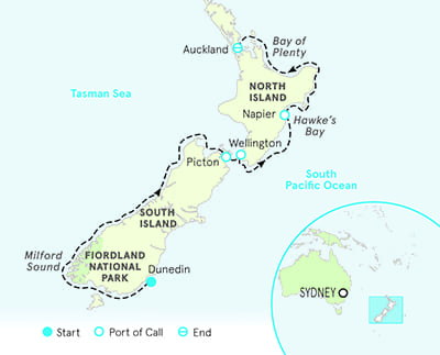 New Zealand Ocean Cruise map