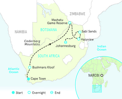 Botswana South Africa Map.South Africa Bike Tours Hiking Botswana Safari Backroads