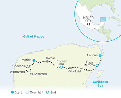 Mexico Yucatán Family Multi-Adventure Tour Map