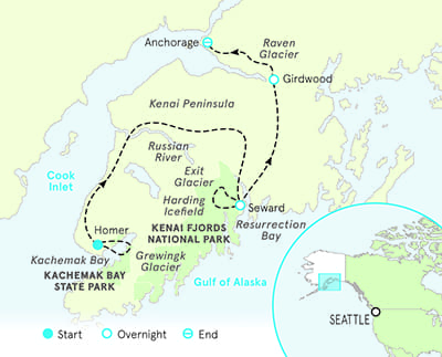 Alaska walking and hiking tour map