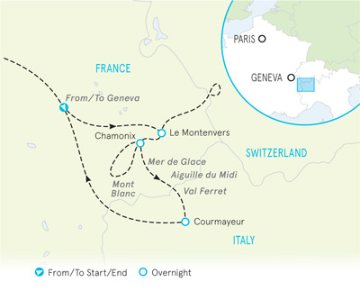 Alps walking tour map