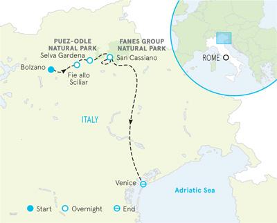 Dolomites Italy walking and hiking map