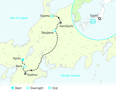 Japan Walking and Hiking Tour Map