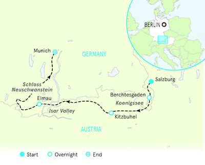 Salzburg to Munich walking tour Map