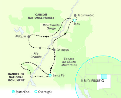 Pueblos New Mexico Map.New Mexico Walking Tours Hiking In New Mexico Backroads