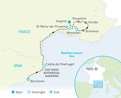 Map Of Southern Spain And France.Southern France Spain Family Walking Hiking Tour