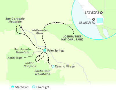 Palm Springs and Joshua Tree Family Walking & Hiking Tour Map