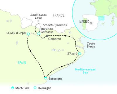 Costa Brava Map Of Spain.Hiking Pyrenees Spain Barcelona Hiking Tours Backroads