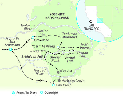 Yosemite California walking tour map