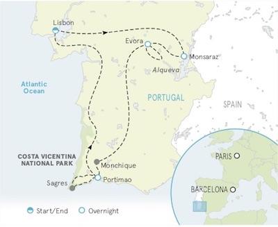Portugal Bike Tour map