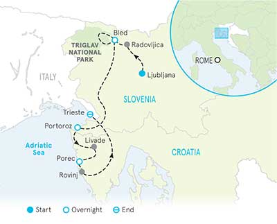 Slovenia and Croatia Tour Map