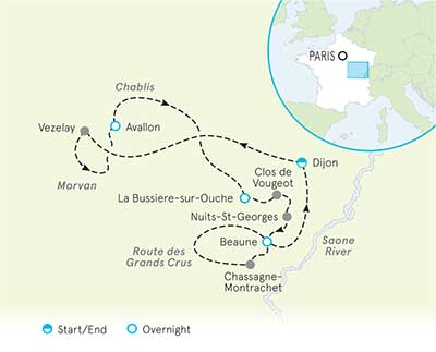 Chablis France Map.Burgundy Cycling Holidays Burgundy Bike Tours Backroads