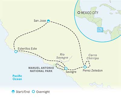 Costa Rica Family Multi-Adventure Tour Map