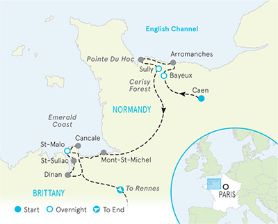 Rennes Map Of France.Normandy Bike Tours Bike Normandy Brittany Backroads