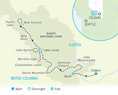 Map Of Canada Lake Louise.Banff Cycling Tours Banff And Lake Louise Bike Tour